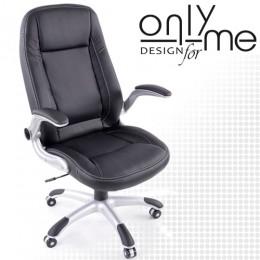 Директорски стол изкуствена кожа черно с подлакътници