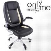 Директорски стол AUTO DESIGH кожа черно / бяло
