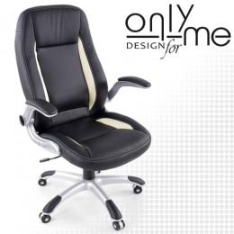 Директорски стол изкуствена кожа черно / бяло с подлакътници