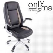 Директорски стол AUTO DESIGH кожа черно / сиво