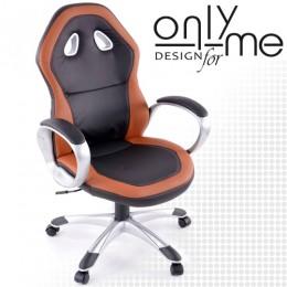 Директорски стол RACING DESIGH изкуствена кожа черно / кафяво с подлакътници