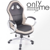 Директорски стол кожа черно/сиво