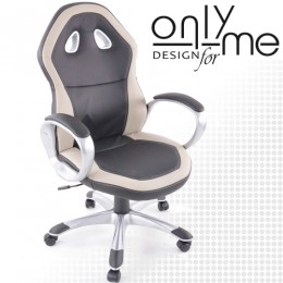 Директорски стол RACING DESIGH изкуствена кожа черно / сиво с подлакътници