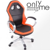 Директорски стол кожа черно/оранжево